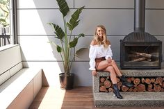 Model and winner of The Block 2017 Elyse Knowles reveals what she's learned from renovating a home to sell. Outdoor Fireplace Designs, Home Fireplace, Fireplaces, Fireplace Console, Modern Wood Burning Stoves, Fireplace Feature Wall, Elyse Knowles, Shed Interior, Interior Design