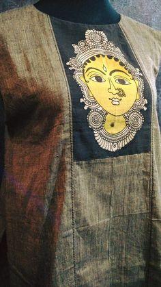 Ready to stitch handloom kurthi with kalamkari face.