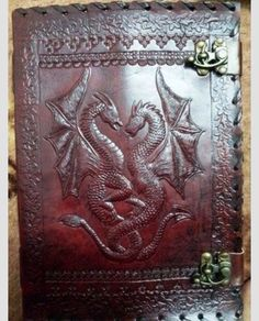 Really nice leather journal with dragon carving.