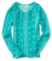 Kids' Long Sleeve Sheer Boho Peasant Top PS From Aéropostale