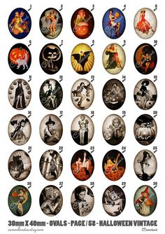 058 CAMAFEOS 40 X 30 - HALLOWEEN VINTAGE - Digital Collage Sheet. Bottle Cap Art, Bottle Cap Images, Wax Paper Transfers, Halloween Vintage, Envelope Book, Halloween Bottles, Scrapbook Paper Crafts, Scrapbooking, Clipart Design