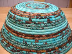Turquoise and brown fabric bowl Native American style