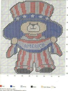 Four of july Patriotic Crafts, Patriotic Decorations, July Crafts, Plastic Canvas Crafts, Plastic Canvas Patterns, Christmas Teddy Bear, Canvas Designs, Tissue Box Covers, Wall Canvas