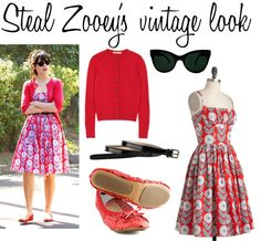 Steal Zooey Deschanel's vintage look with a ModCloth patterned dress, red sequin Fit in Cloud rollable flats, a red cardigan, a black skinny belt, and cat-eye sunglasses