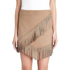 1 State Faux Suede Fringe Mini Skirt ($118) ❤ liked on Polyvore