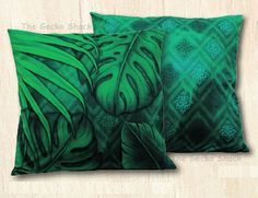 The Gecko Shack - Earthing 45cm Velvet Cushion Green Rainforest Leaves LIsa Pollock, $34.95 (http://www.geckoshack.com.au/earthing-45cm-velvet-cushion-green-rainforest-leaves-lisa-pollock/)