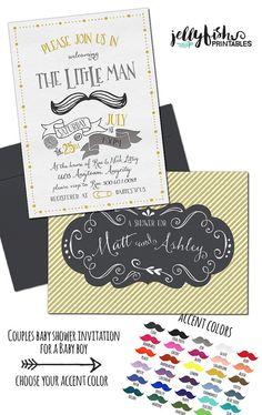 Unique Vintage Mustache baby shower invitation,Little Man Baby Shower invitation, Couples baby shower invitation, gold, grey, black by JellyfishPrintables