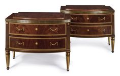 A pair of Russian Neoclassical style gilt bronze-mounted and brass-inlaid mahogany commodes