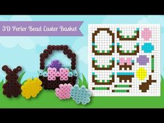 Super Cute 3D Easter Basket Perler Bead Pattern. Laceys Crafts is all about sharing super simple and adorable crafts for kids. Enjoy!