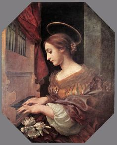 Carlo Dolci「St Cecilia at the Organ」 Carlo (or Carlino) Dolci (1616 – 1686) was an Italian painter of the Baroque period, active mainly in Florence, known for highly finished religious pictures, often repeated in many versions.