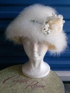 Vintage 1960s White Marabou Hat White Silk Flowers by bycinbyhand, $115.00
