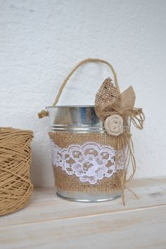 Wedding Rustic Pail Wedding Bucket Burlap by MomentOfHappiness