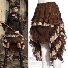 Brown Lace Layer Ruffle High Low Knee Length Steampunk Fashion Skirt SKU-11406357