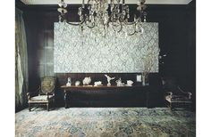 I love this! Warm wood interior, rug, and the most amazing art work. (Robert Couturier)