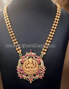Two Layers Gold Balls Set Lakshmi Pendant - Jewellery Designs Indian Jewellery Design, Indian Jewelry, Jewelry Design, Designer Jewellery, Jewelry Findings, Pendant Jewelry, Gold Jewelry, Gold Pendant, Dainty Jewelry