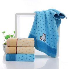 Cute Cartoon Print 100% Cotton 4 PC 34x76cm Bath Towel Set