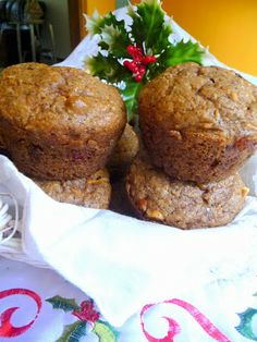 CHRISTMAS MORNING GLORY MUFFINS - recipe makes 15.  These large, packed-full-of-goodness muffins freeze very well.