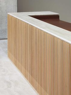 oak stone and leather Reception Desk