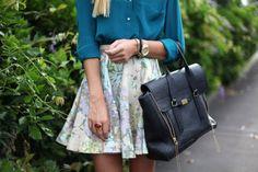 Teal silk blouse w/ floral skirt