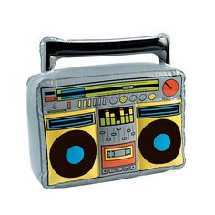 Inflatable Boom Box as a decoration or photobooth prop for an 80's party. Only $5.00 at OrientalTrading.com