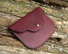 Leather coin purse  small goatskin pouch burgundy by MJLeatherwork, $40.00