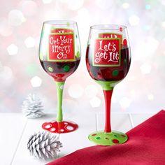 decorated wine glasses - Google Search