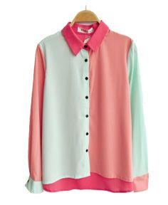 Color Block Chiffon Blouse with Dipped Hem
