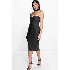 Boohoo Night Gia Bandeau Bandage Midi Bodycon Dress ($35) ❤ liked on Polyvore featuring dresses, black, bodycon maxi dress, maxi dress, black dress, bodycon bandage dress and black tuxedo