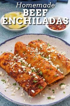This beef enchiladas recipe is so good with corn tortillas filled with slowly simmered ground beef, lots of shredded cheese, then smothered in homemade red enchilada sauce. #beefenchiladas #enchiladasauce Recipes With Enchilada Sauce, Chili Recipes, Veggie Recipes, Mexican Food Recipes, Cooking Recipes, Mexican Dishes, Enchilada Seasoning Recipe, Dinner Recipes, Shredded Beef Enchiladas