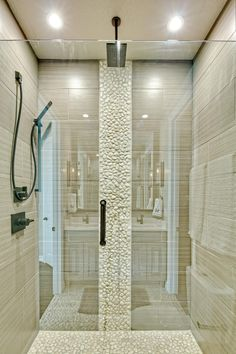 Neutral Walk-In Shower With White Stones