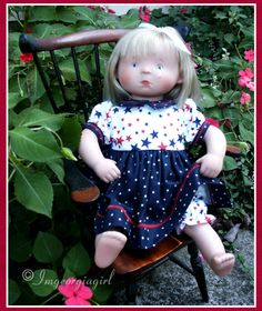"""I made this for my Holly Milly Doll name """"Mi"""". She a White Balloon from Spain 15"""" babydoll no longer made. The outfit is a patriotic dress with bloomers. I bought her on July 4th...so the outfit was appropriate. :-) She now resides with my 2 year-old grand-daughter who loves her dearly!"""