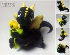 25% off - Handmade Polymer Clay Baby Sunflower Dragon