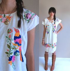 vtg 70s white EMBROIDERED BIRDS Mexican DRESS by TigerlilyFrocks, $119.00