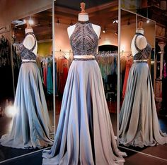 2peice dress Beaded halter crop top prom dress grey