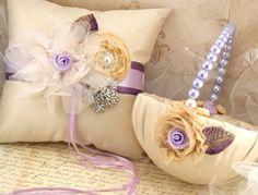 Flower Girl Basket Bridal Basket in Champagne Purple ♥ by SolBijou,.00