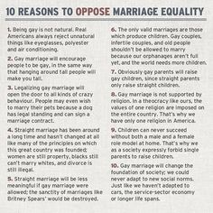 I LOVE the hypocrisy this highlights in many of the common beliefs of those who don't support marriage equality. #MarriageEquality #LGBT