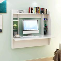 Wall unit with desk and tv wall unit computer desk exotic wall computer desk wall mounted Floating Computer Desk, Wall Mounted Computer Desk, Desk Wall Unit, Computer Desk With Shelves, Desk Shelves, Wall Mounted Tv, Storage Shelves, Shelf, Computer Desk In Bedroom