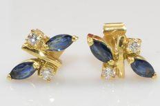 18ct gouden  oorbellen met diamanten en blauwe saffieren