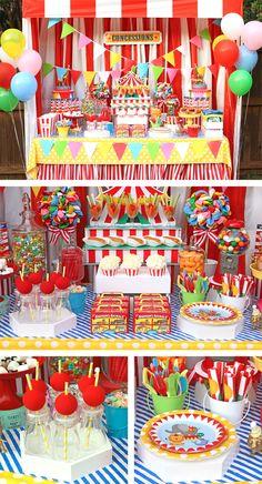 Decoration Cirque, Circus Party Decorations, Circus Carnival Party, Circus Theme Party, Carnival Birthday Parties, First Birthday Parties, Birthday Party Themes, Birthday Ideas, Carnival Booths