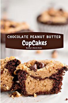 More Cupcakes, Yummy Cupcakes, Cupcake Cakes, Chocolate Peanut Butter Cupcakes, Peanut Butter Recipes, Chocolate Peanuts, Holiday Baking, Holiday Treats, Sweet Recipes