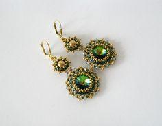 Ohrhänger *Grün & Gold* 925er Silber mit Swarovski von Natali Perla auf DaWanda.com