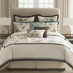 cotton comforter set with a floral motif. Product: Queen: 1 Comforter, 1 bed skirt and 2 standard pillow shams Home, Home Bedroom, House Styles, Comforter Sets, Bedroom Design, Bed, Bedroom Decor, Comforters, Bed Bath And Beyond