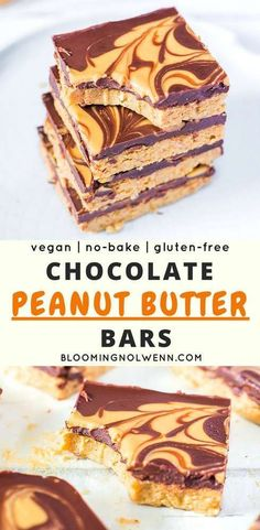 Vegan Chocolate Peanut Butter Bars made with just 5 ingredients, gluten-free, oil-free and SO delicious! The perfect vegan chocolate snack. Peanut Butter Chocolate Bars, Chocolate Snacks, Vegan Peanut Butter, Peanut Butter Recipes, Gluten Free Chocolate, Chocolate Peanuts, Vegan Chocolate, Gluten Free Treats, Vegan Treats