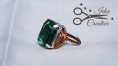 Anello realizzato a a mano con filo wire color rame e pietra sfaccettata color smeraldo. Per info contattami