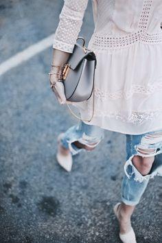 blush pink lace dress + distressed boyfriend jeans + nude heels