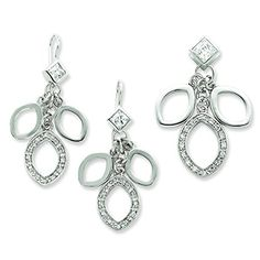 Sterling Silver Cz Dangle Pendant  Earring Set -- Continue to the product at the image link. (This is an affiliate link) #JewelrySets
