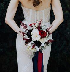 Bride's Bouquet: Red Roses, Red Astilbe, Cream English Garden Roses, White Ranunculus, Blushing Bride Protea, Dark Garnet Florals, Dusty Miller