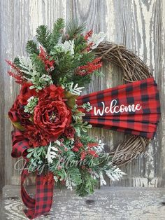 Excited to share the latest addition to my #etsy shop: Christmas wreath, Buffalo Plaid, Front door wreath, Holiday wreath, Wreath for front door, Christmas #housewares #homedecor #heymomcreations #christmasWreaths