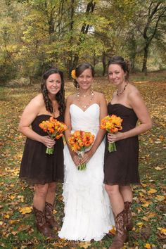 love the brown dresses (not short) with the orange flowers.. love fall weddings. ugly cowboy boots though..