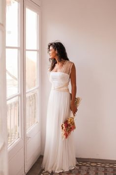 Gold Polka Dots Wedding Dress With Silked Tulle Skirt Infinity